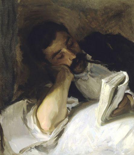 "Man Reading (Nicola d'Inverno), John Singer Sargent, c. 1904 - 1908, 25.25""h x 22.25""w, Oil on canvas."