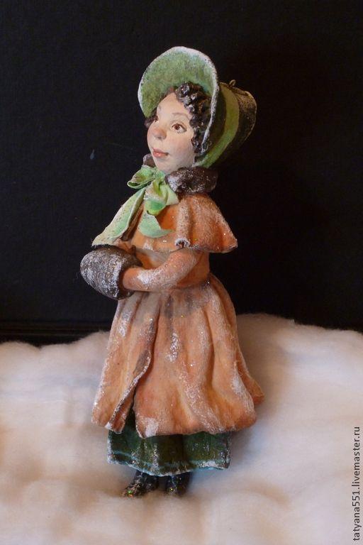 """Купить Елочная игрушка из ваты """"Старый город - Любушка"""" - бежевый, зелёный, елка, Новый Год"""