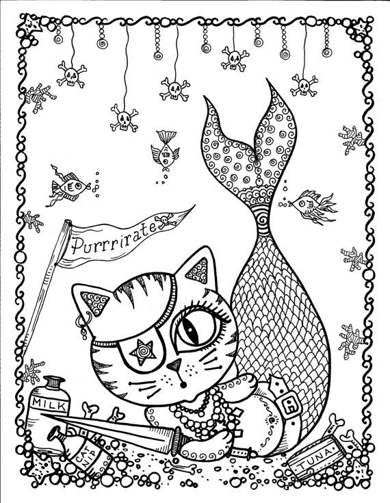 Instant Download Merkitty Purrrirate Coloring by ChubbyMermaid