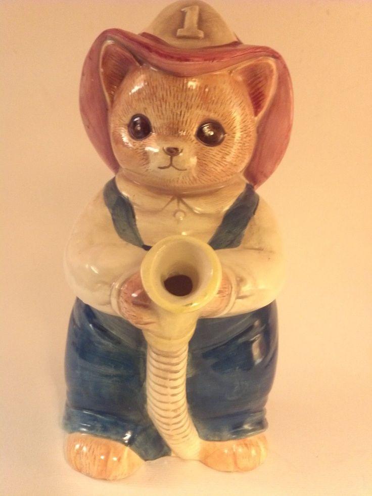 "Takahashi Ceramic Pitcher Cat Fireman Hose Blue Overalls Made in Japan 8 5"" | eBay"