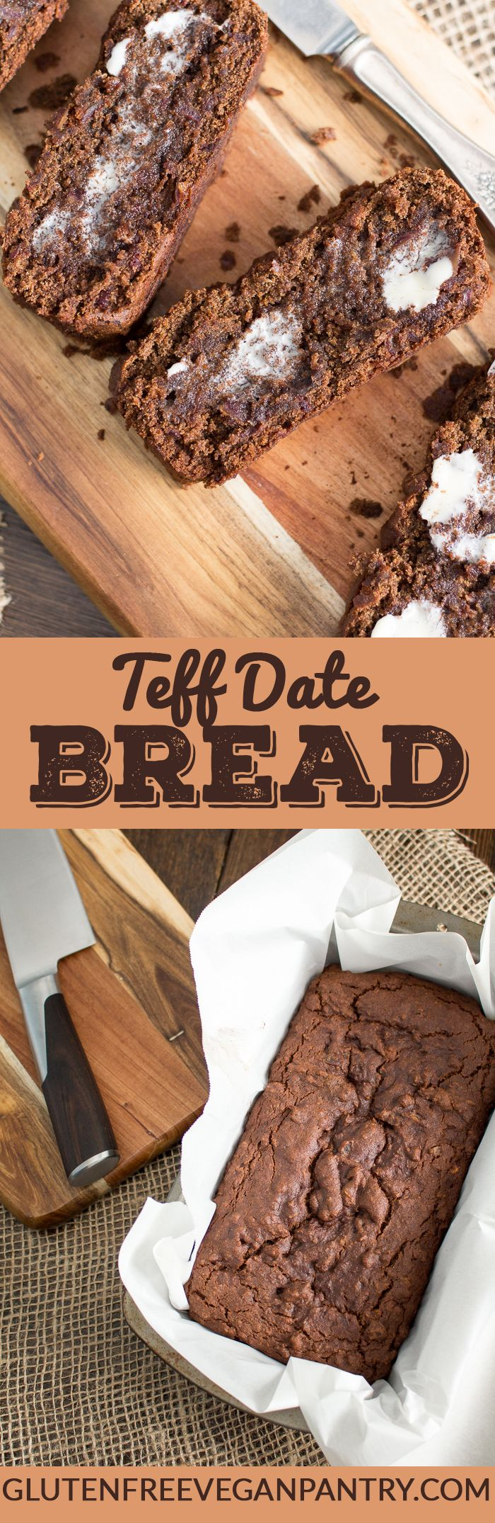 Teff Date Bread - Vegan & Gluten-free. This loaf is moist, loaded with flavour and super aromatic - delish! glutenfreeveganpantry.com