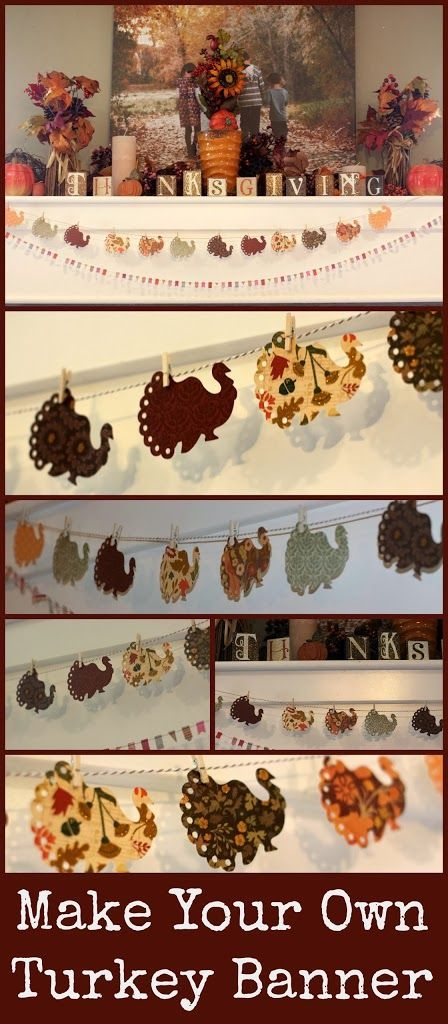 Make Your Own Thanksgiving Turkey Banner Craft DIY - easy decor tutorial or project idea for the holidays!
