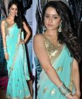 Custom Made Bollywood Outfits :: Shraddha Kapoor in Turquoise/Sky Blue Saree with Gold Floral Motifs (Aashiqui 2) - Inspiration Couture | Re...