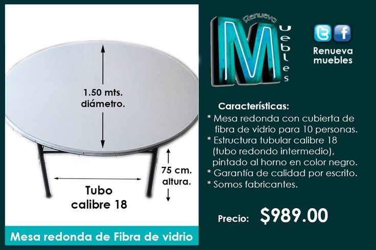 Mesa Redonda Con Cubierta De Fibra De Vidrio Para 10