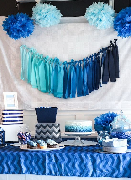 Dessert table done in an ombre blue color palette. Source: formal dress au  #desserttable #ombreblue