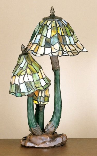 Three Mushroom Stained Glass Tiffany Style Lamp