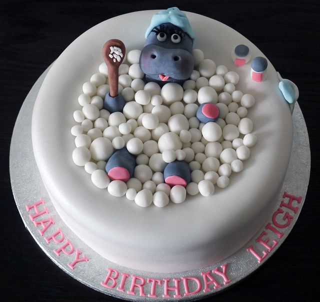 hippo in a hot tub birthday cake