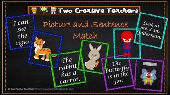 Two Creative Teachers - Sentence and Picture Match This resource is a great tool to help students practice their High Frequency Words, use the High Frequency Words in a sentence and match pictures to sentences for comprehension. It's a great activity to use in Literacy groups and my students love it.