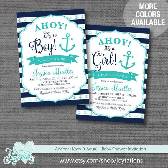 Anchor (Navy and Aqua) Baby Shower Invitation personalized with your own wording by Joytations on Etsy. For details visit: https://www.etsy.com/listing/518498719