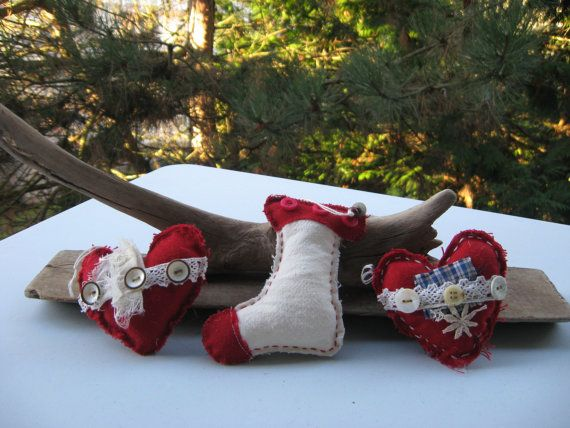 set 3 christmas ornamentscotton fabricred fabric antique by Voweco