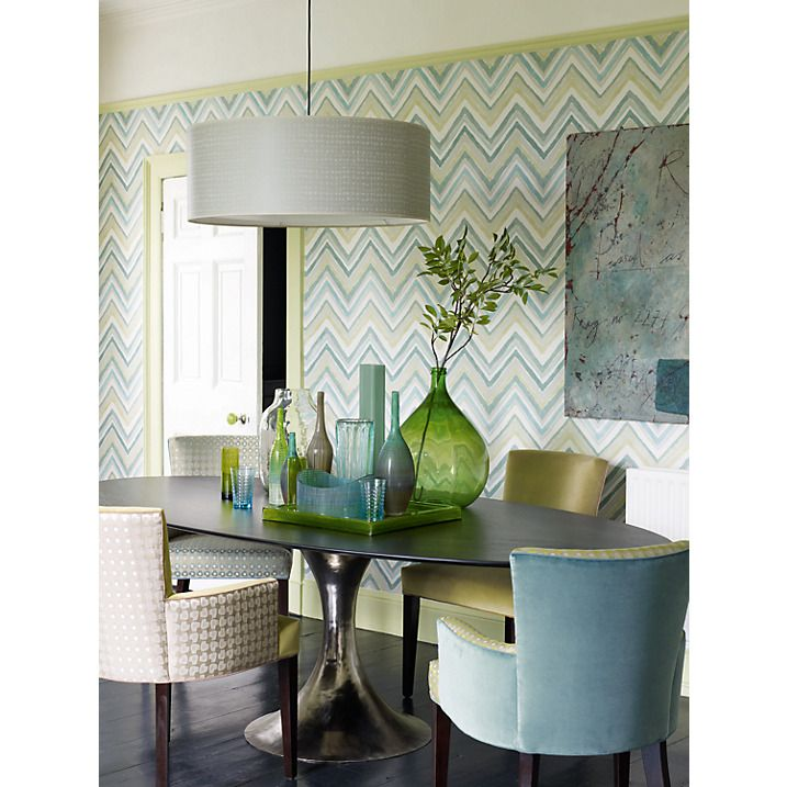 Sanderson Zigzag Wallpaper in Aqua/Chartreuse provides a bold punch of pattern to this dining space. Love the chairs, too.