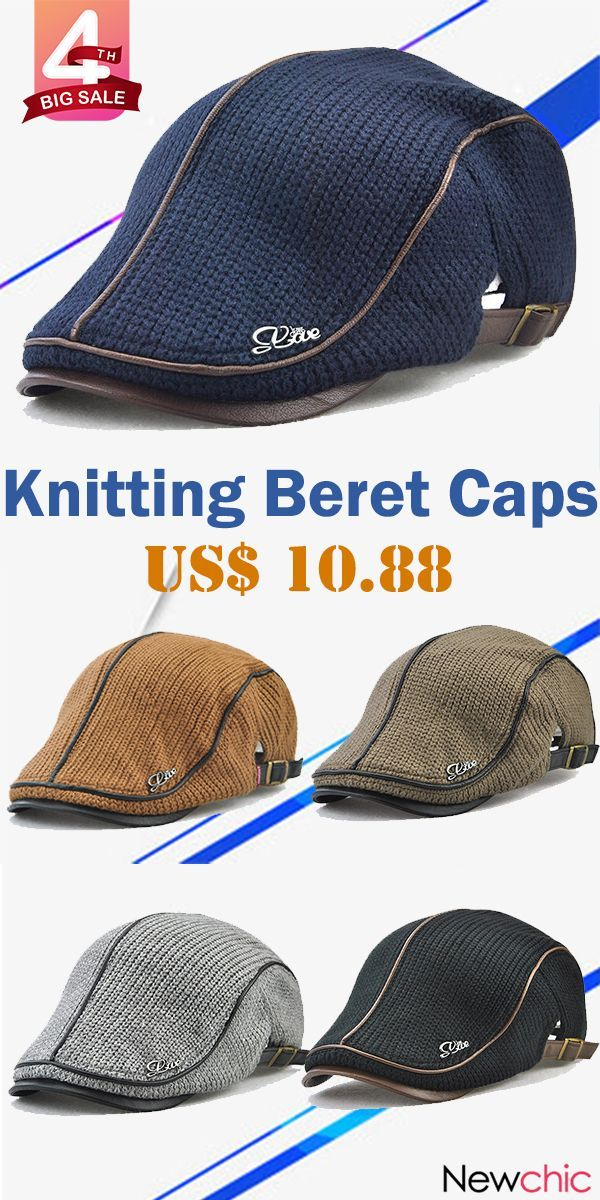 Big Sale Knitting Beret Caps Newsboy Buckle Adjustable Casual Outdoors  Peaked Hat.  style  outdoor  caps 52914a3797ee