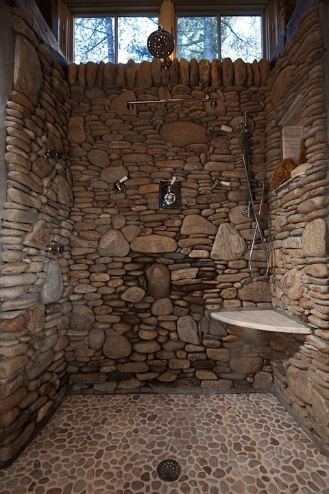 Stone shower–lissyparker.com  I can smell the fresh river rain as I look at this shower. I love the smell of wet stone