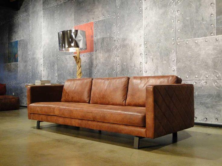 Sofa Upholstery Diy Mattress Topper For Sleeper Leren 3 Zits Bank Blauw Orvieto | Industrieel Interieur ...