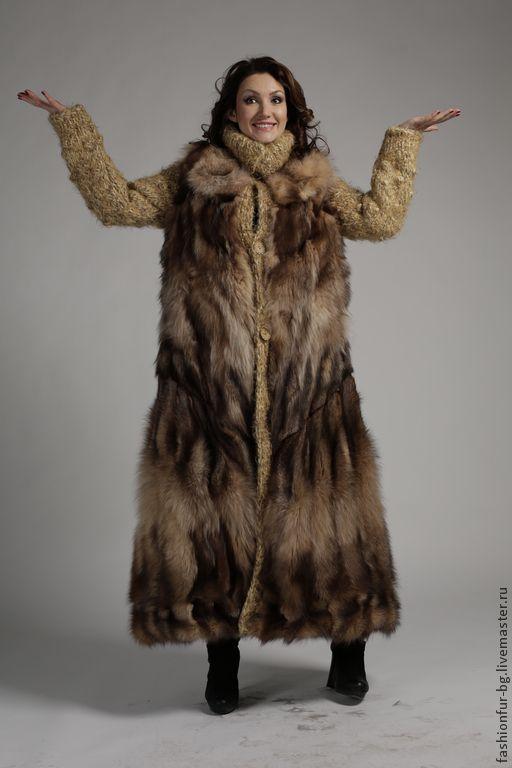 Купить Шубка Исландская Лиса - рыжий, орнамент, мех натуральный, мех лисы, шуба из лисы