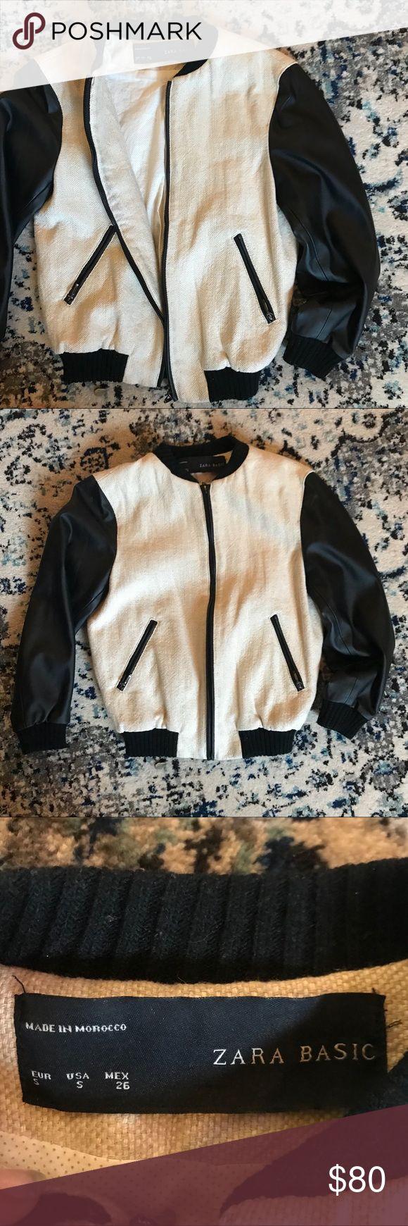 Cropped linen faux leather Zara bomber jacket XS Cropped linen faux leather Zara bomber jacket XS Zara Jackets & Coats Utility Jackets