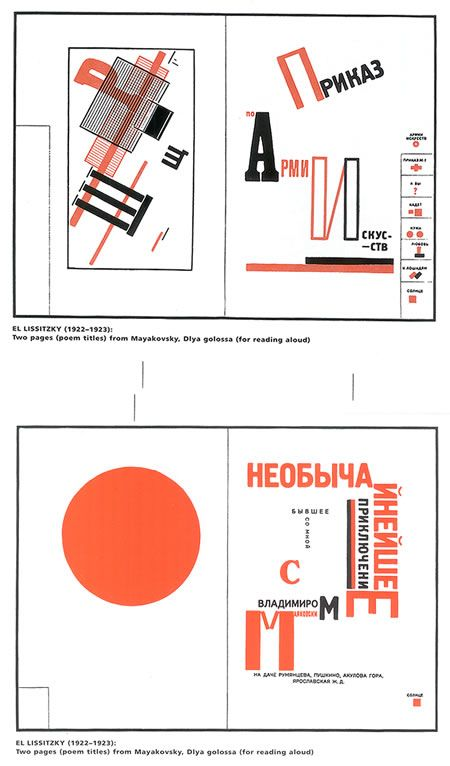 Two pages from El Lissitzky's Mayakovsky