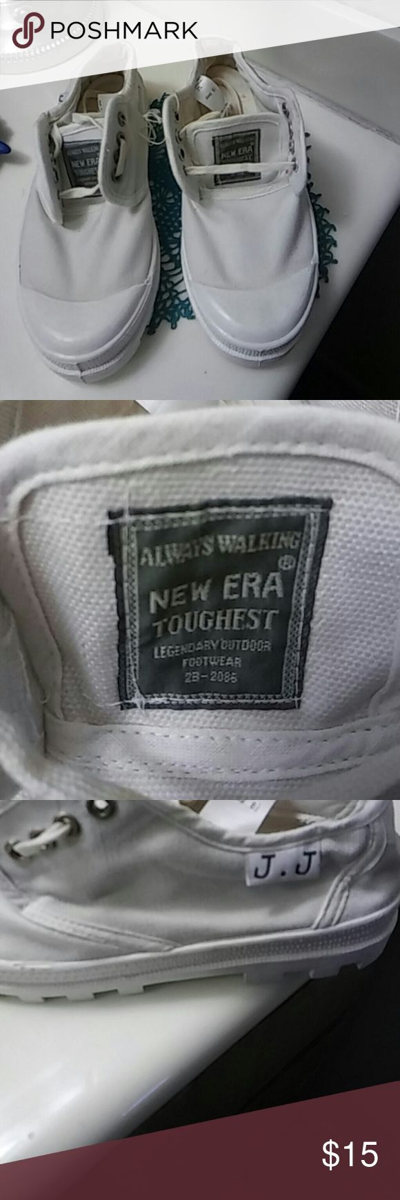 New Era Toughest footwear Legendary outdoor footwear tennis shoes.  Clean and a lil worn inside but no rips.  Size 8-1/2. Shoestrings came out yellow on camera.  They r white New Era Shoes Athletic Shoes