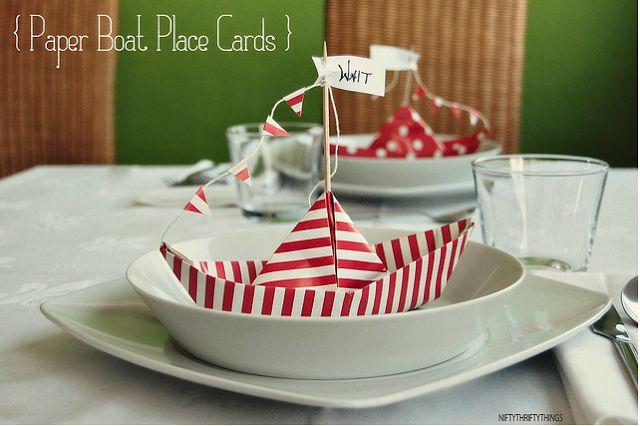 la decoración de mis mesas: Ideas para mesas: Marcaplazas de barcos de papel