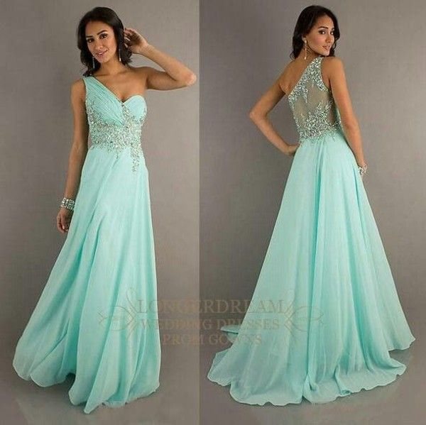 Dress: blue one shoulder sparkles prom long