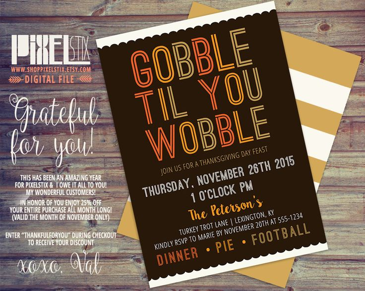 13 Best Pixelstix Thanksgiving Invitations Images On Pinterest