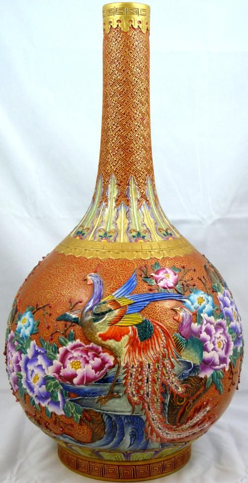 Chinese Porcelain Enameled Floral Bird Vase, Enameled Bird And Floral Design Raised With Hand Painted Gilt Background