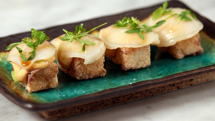 NYT Cooking: Jean-Georges Vongerichten's Fried Sushi Cakes (crispy-fried rice portions with spicy mayo and raw scallop)