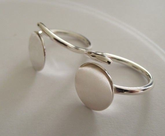 1 x Sterling Silver flat pad ring  adjustable freesize by abyjem