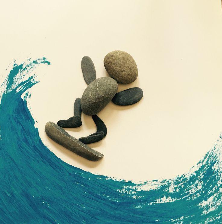 Surfer dude pebble art