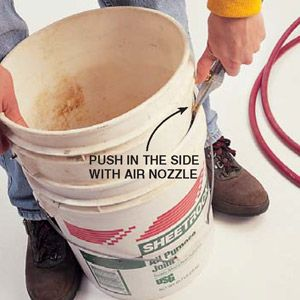 DIY Tip of the Day: Blow Apart Stuck 5-Gallon Buckets. My dad and I have figured out a way to get those stuck-together 5-gallon pails apart nearly every time. We just push an air nozzle between the buckets and blow compressed air into the lower one.