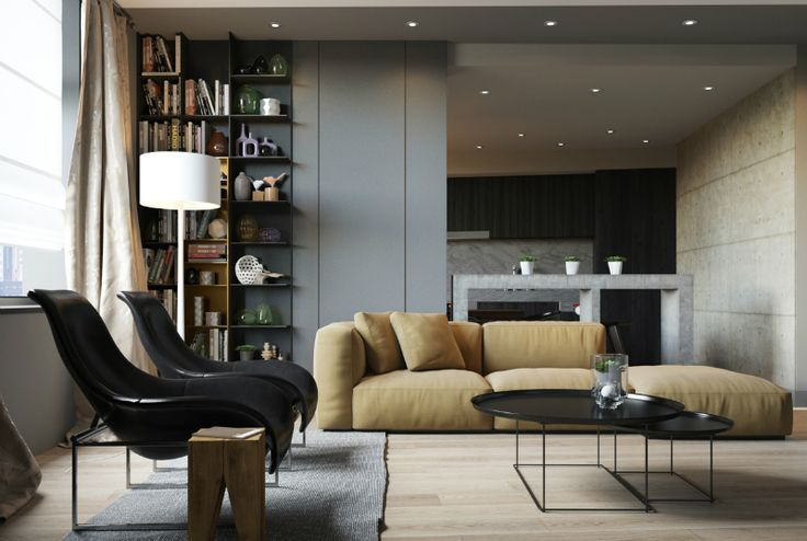 living area, stone divider/table, kitchen | minimalist style, neutral palette, natural materials, public rooms flow | apartment designed by Artem Trigubchak