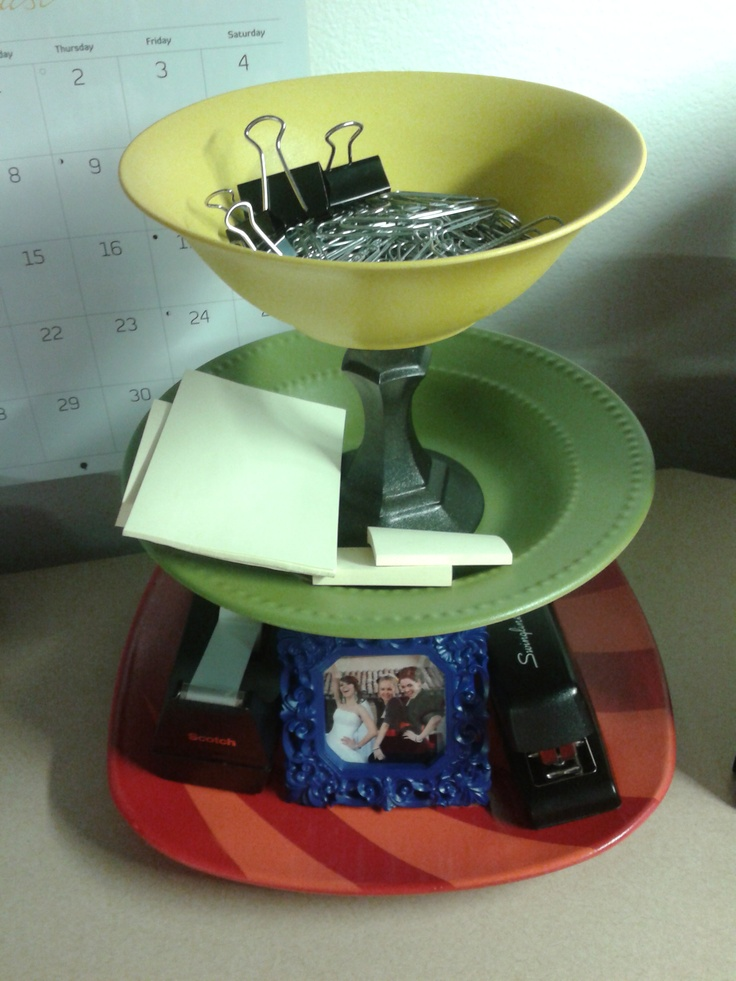 Dollar Store Dishes U0026 Candle Holders + Spraypaint U003d Office Supply Organizer