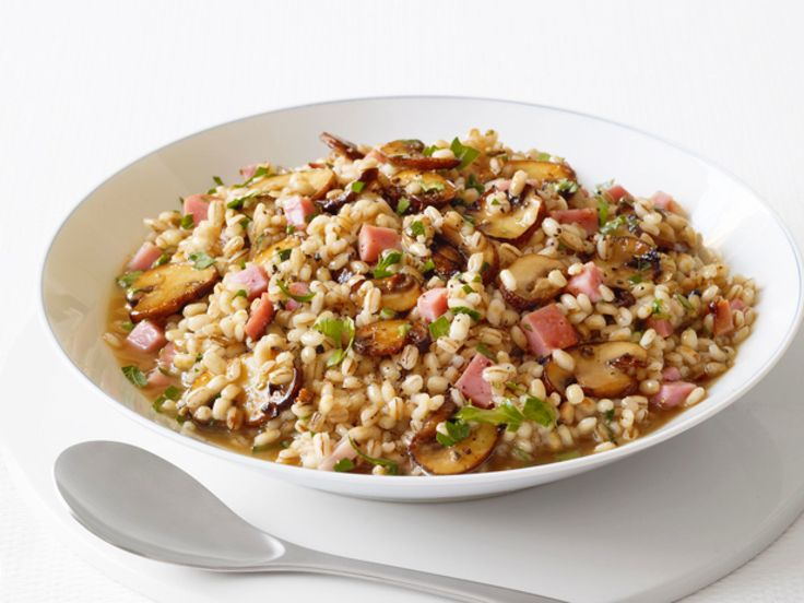 Barley Risotto With Ham and Mushrooms recipe from Food Network Kitchen via Food Network