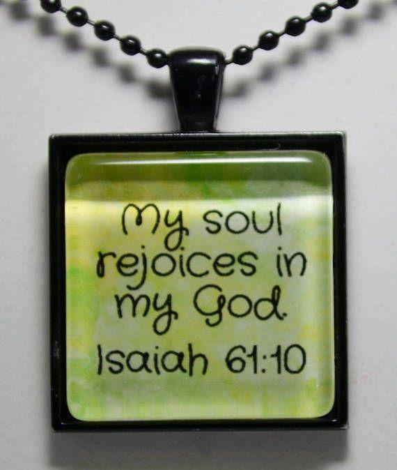 Isaiah 61:10 Rejoice in God Pendant Christian Jewelry Faith Hope Scripture Pendant Necklace C L Murphy Creative CLMurphyCreative
