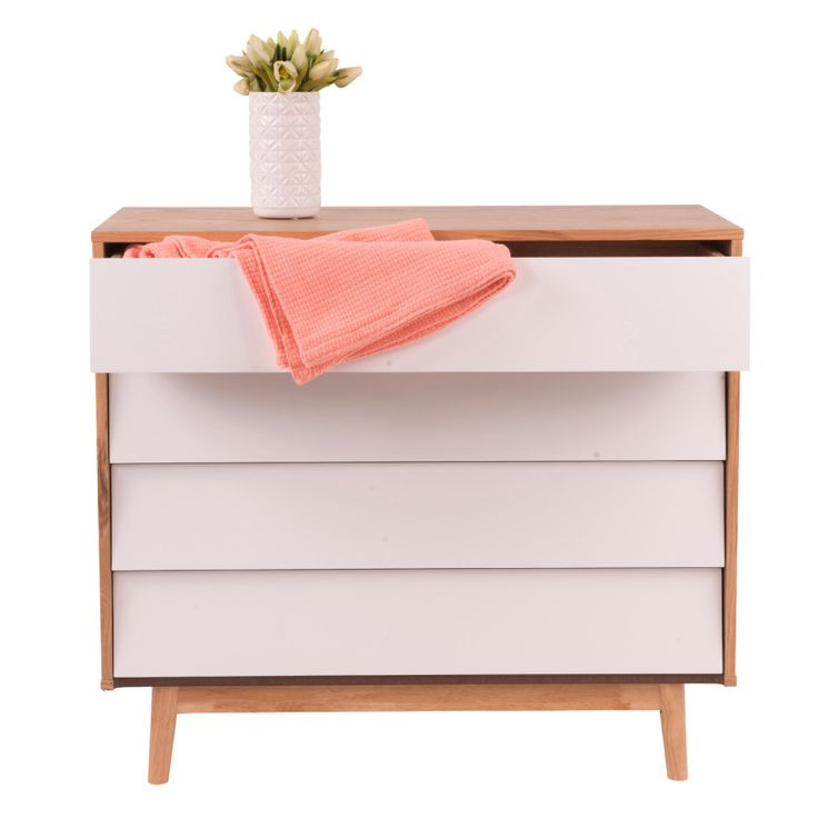 Marcel 4 Drawer Chest Mdf Wood With Oak Veneer Painted Finish Modern Furniture