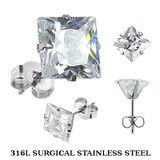 Evangeline - Classic Design Stainless Steel Earrings with Square-Cut Cubic Zirconias