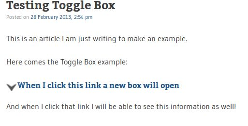 Create a toggle box in wordpress