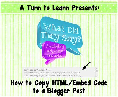 A Turn to Learn: How to Copy HTML/Embed Code to Your Blog!