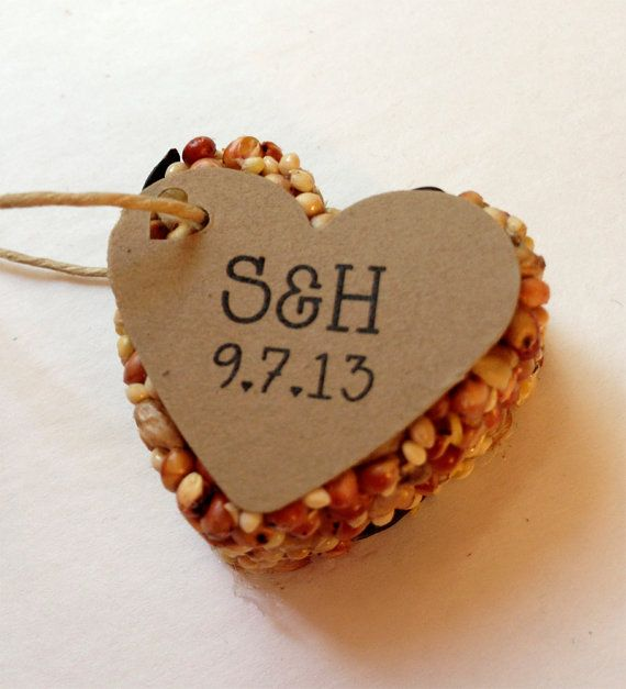75 Bird Seed Heart Shaped Favor MINI- Wedding and Events - Personalized bird seed favor - weddings - parties
