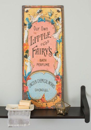 Fairy Home Companion Sign - Multi, French / Victorian, Yellow, Blue, Coral, Novelty Print, Fairytale, Pastel