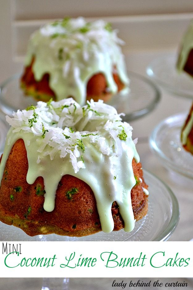 Mini Coconut Lime Bundt Cakes Recipe ~ Says: These wonderful light and tender cakes are full of coconut and lime flavor! Perfect for Mother's Day, a brunch, bridal shower, or baby shower.