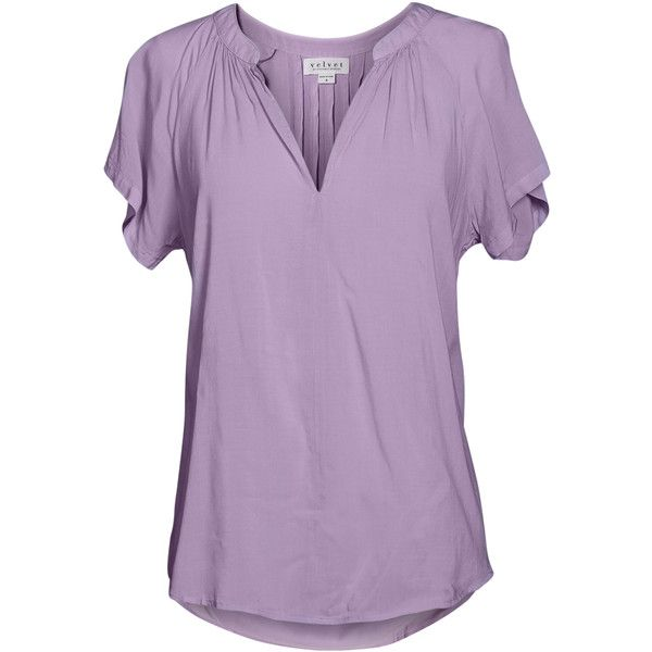Velvet by Graham and Spencer Goa Rayon Challis Short Sleeve Top ($99) ❤ liked on Polyvore featuring tops, light purple, relaxed fit tops, long tops, wet look top, rayon tops and short sleeve tops