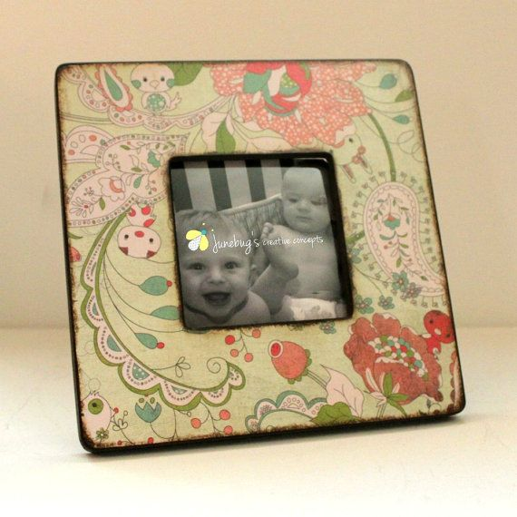 4x4 Wood Photo Frame VIntage Floral Baby Animals by JunebugsCC, $18.00