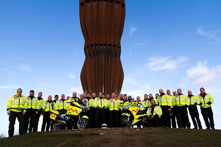 Northumbria Blood Bikes official team photo. Angel Of The North, Gateshead, North East England.
