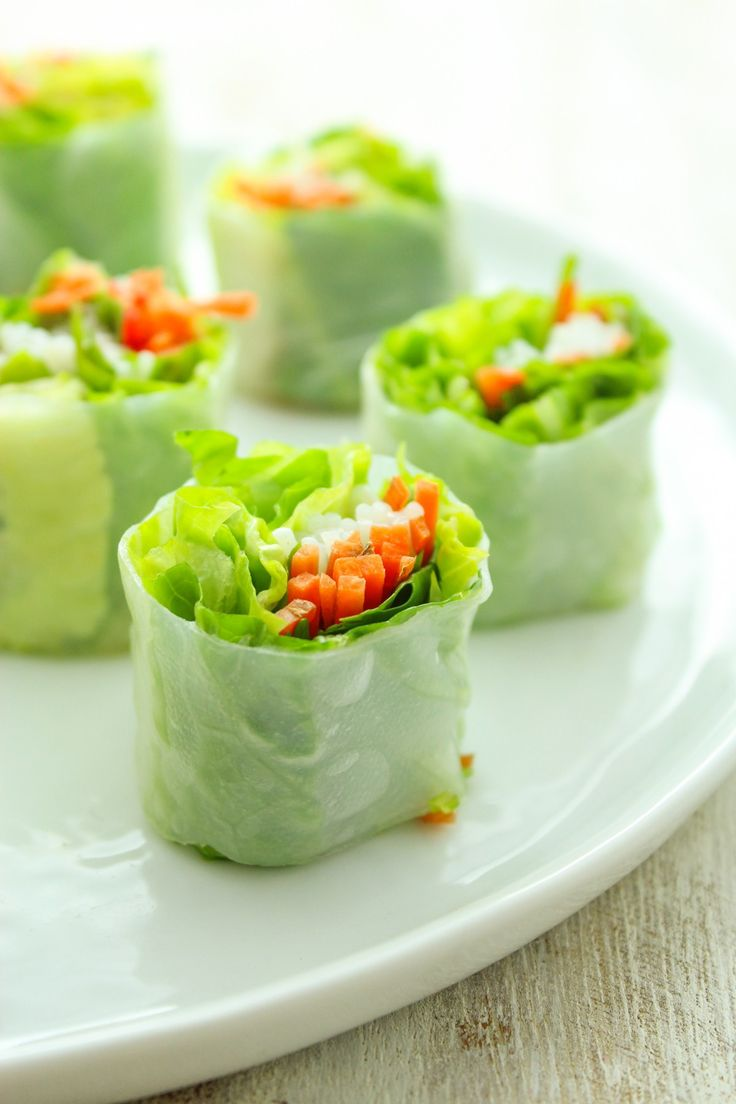 Healthy Fresh Rice Paper Rolls Filled With Crunchy Veggies Perfect For Dipping In Peanut