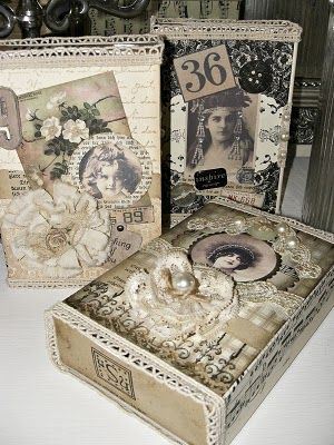 Shabby Chic Altered Boxes - covered with vintage lace, paper, buttons, etc.