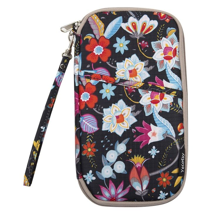 Yeiotsy Flowers Passport Holder with Hands Strap Travel Passport Wallet for Women ^^ For more information, visit now : Christmas Luggage and Travel Gear