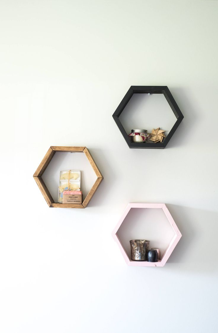 Wooden Hexagon Shelves from Timber Grove Studios on Etsy #hexagonshelves