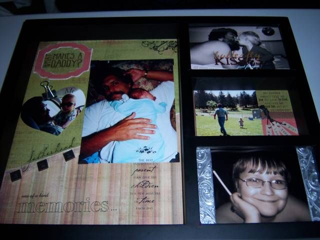 This was a large shadowbox type frame that I made for my husband for his birthday a few years ago.  I chose to decorate it as I would a scrapbook, to celebrate the relationship with his son, Jonny.  Many techniques were used such as faux metal. The heart pic is actually attached to a magnet, and the clip holds a handwritten note [folded and hidden behind the pic] from my son to his dad telling him what he loves about him.  Needless to say, my husband loved it and appreciated the time taken…