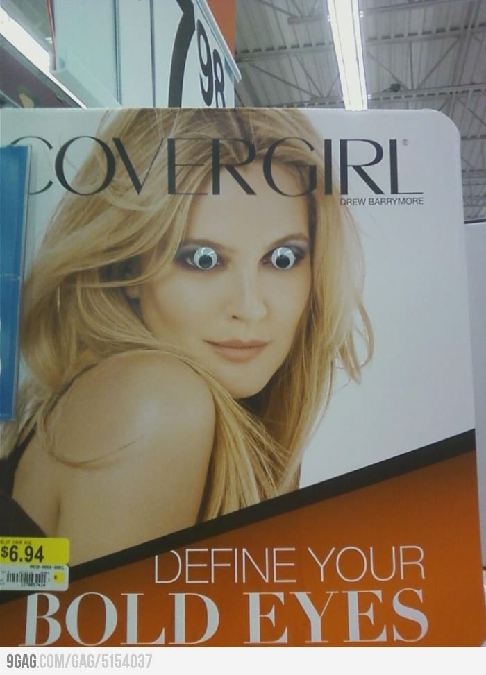 putting googly eyes on magazine ladies.